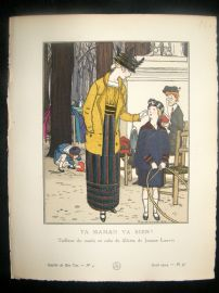 Gazette du Bon Ton by Brissaud 1914 Art Deco Pochoir. Ta Maman va Bien?